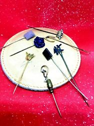 8 Lot- Lapel Hat Stick Pins-antique-flower-wishbone-pillow-butterfly-jeweled S