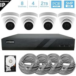 【expandable】4k 8mp Nvr Outdoor Indoor Poe Ip 5mp Turret Security Camera System