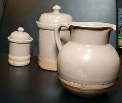 """Vintage Himark Pitcher And Canisters Lot Made In Italy 8"""" Tall Terra Cotta"""