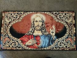 "Vintage Tapestry Wall Hanging Sacred Heart of Jesus Christ 19 1 2"" x 37 1 2"""