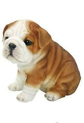 Realistic Lifelike Bulldog Puppy Statue 6quot;H British Bulldog Figurine Glass Eyes