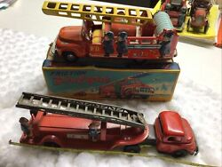 Japan Friction Fire Engine In Box Wind Up And Sieren Work And Friction Ladder Truck