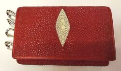 Genuine Stingray Wallets Skin Leather Keychain Keyrings Men#x27;s Red Purses Bags $26.99