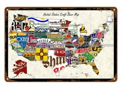 Antique Signs Sale Plaque United States Craft Beer Map Metal Tin Sign