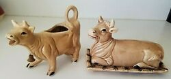 Vintage Cow / Bull Butter Covered Dish + Cow / Calf Creamer Bell Set Brown 4 Pc