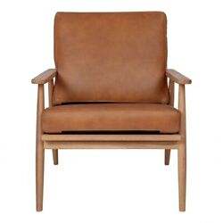 26 W Club Chair Tan Top Grain Leather Solid Oak Wood Frame Contemporary
