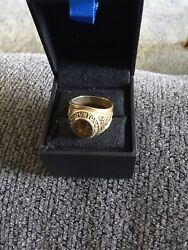 10k Yellow Gold Housten Fire Dept Ring With An Amber Stone Sz 10