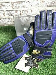 Pure Pro Quadra Blue/black Leather Motorcycle Gloves Gore-tex Small