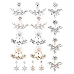 50x8 Pairs Fashion Silver Leaf Flower Crystal Ear Jacket Front And Back Stud