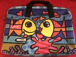 Romero Britto Lg. Laptop Bag Case Carrier With Fish 16 X 12 Inches Pop Art