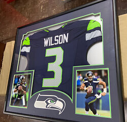 Seattle Seahawks Russell Wilson Framed And Matted Blue Jersey W/pictures Mancave