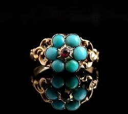 Antique Georgian Mourning Ring 22ct Gold Turquoise And Ruby