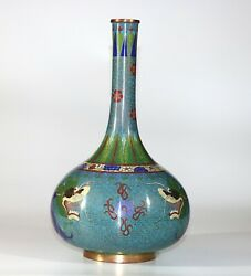 A Big 19th/20th Century Beautiful Chinese Cloisonne Vase With Dragons 31cm 1030