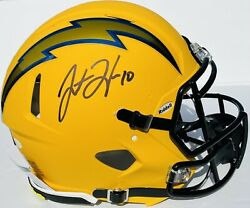 La Chargers Justin Herbert Signed Speed Authentic Football Helmet Chrome Bas