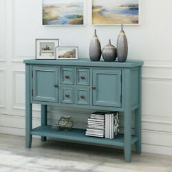 Retro Buffet Sideboard Wood Console Table W/ Bottom Shelf For Entryway Kitchen