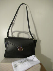 Whitney Hardware Gold Large Top Handle Leather Satchel In Black