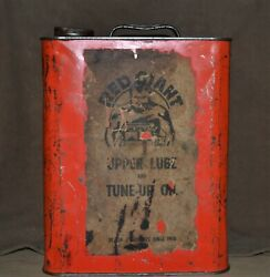 Rare Vintage 1920's-30's Red Giant 2 Gallon Gas Oil Lube Advertising Can
