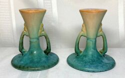 Roseville Pottery Earlam Candlesticks Nice Tall Version Excellent Glaze Rare