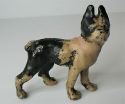 Antique HUBLEY Cast Iron Boston Terrier Dog Small Paperweight 3quot; x 3.5quot; Vtg