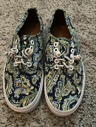VANS Off The Wall Paisley Floral Blue Yellow Sneakers Shoes Men's 6.5 Women's 8