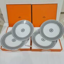 New Collectible Hermes H Deco Dessert Plate 23cm X 4pcs 2 Sets Shipped By Dhl