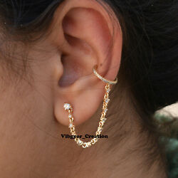 Pave Diamond Link Chain Cuff Earrings 14k Yellow Gold Cartilage Chain Earrings