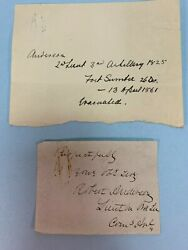 2 Signed Notes By Robert Anderson  Civil War/ft. Sumter