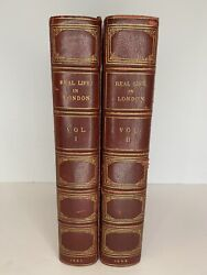 Rare 1821 Real Life In London Vol. 1 And 1822 Vol. 2 Full Page Color Fine Leather