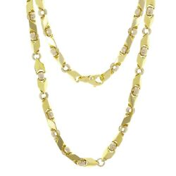 10k Yellow And White Gold Handmade Fashion Link Necklace 28 7mm 91 Grams