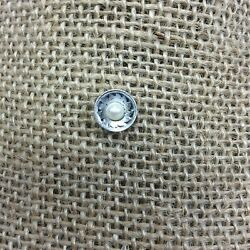 Sterling Silver With Pearl Round Tie Tack Brite Cut Design Classic Chain Back