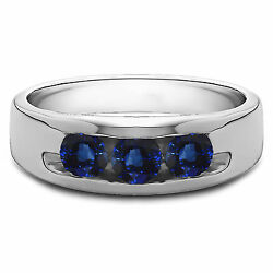 0.35 Ct Natural Diamond Menand039s Blue Sapphire Ring Solid 14k White Gold Size T R S