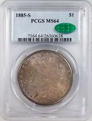 1885 S Morgan Silver Dollar Certified Ms 64 By Pcgs And Cac Nicely Toned