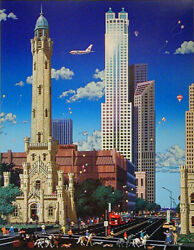 Alexander Chen Chicago Old Water Tower Signed Numbered Ltd Ed Lithograph