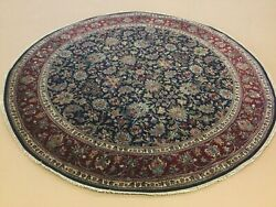 """7'.8"""" X 7'.8"""" Navy Blue Red Round Traditional Floral Hand Knotted Oriental Rug"""