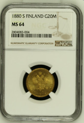 Rr - 1880 Gold Finland / Imperial Russia 20 Markkaa Ngc Ms64 - Rare