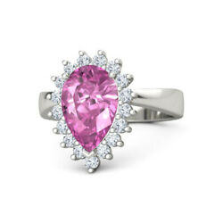3.50 Ct Real Pink Sapphire Gemstone Ring Solid 950 Platinum Rings Size 6 7 7.5