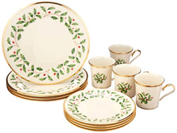 12-pc Service For 4 Lenox Holly Leaves Berries Christmas Holiday China Set 24k