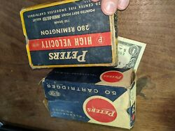 Lot Of 2 Vtg Peters Kleanbore And 280 Remington Empty Ammo Cartridge Boxes