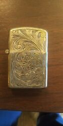 Vtg Sterling Silver Hand Caved Made In Italy Hinge Matches Case Holder