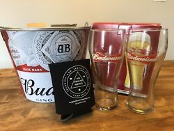 New Ab Budweiser® King Of Beers Ice Bucket W/ 2 Bud 16oz Glasses And Coozie Cup