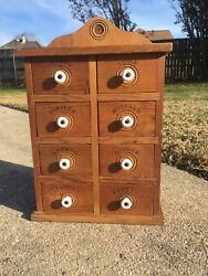 Vintage8 Drawer Wooden Apothecary Spice Cabinet Primitive Farmhouse