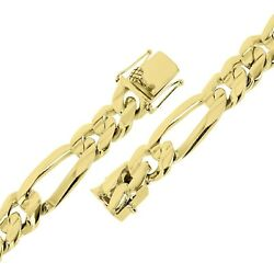 Menand039s 10k Yellow Gold Solid Heavy Link Figaro Chain Bracelet 8.5 17.5mm 101.5g