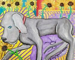 Weimaraner Art Print From Painting   Gifts, Poster, Home Decor, Picture 13x19