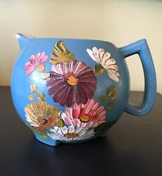 Vintage Ransburg Stoneware Pottery Pitcher Blue Asters Tole Painted Flowers