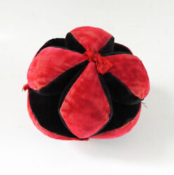 Vintage Red And Black Velvet Handmade Amish Puzzle Ball Pincushion