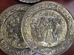 Pair Vintage Brass Wall Plaque Tavern Scene Lute And Wine England 16.5