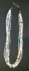 Rare7strand White Heishi And Multi Stone Necklace By Jimmy Ca-win Calabaza