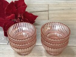 Antique Queen Mary Pink Depression Glass Sherbet Bowls Six 6 Mint