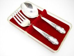 Bridal Veil Rogers International Sterling Silver 2 Pc Baby Set Spoon And Fork