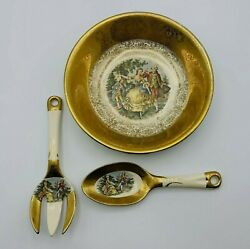 Vintage Royal China Colonial Courting Couple 22 Kt. 9 Serving Bowl Fork Spoon